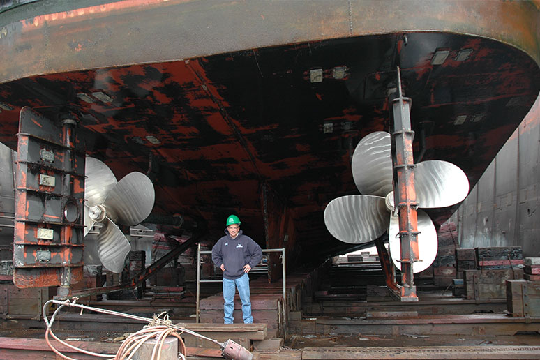 inspecting propellers